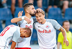 19.07.2017, Red Bull Arena, Salzburg, AUT, UEFA CL, FC Salzburg vs Hibernians FC, Qualifikation, 2. Runde, Rückspiel, im Bild Torjubel Salzburg, nach dem 2:0 durch Frederik Gulbrandsen (FC Red Bull Salzburg), Hannes Wolf (FC Red Bull Salzburg), Munas Dabbur (FC Red Bull Salzburg) // during the UEFA Championsleague Qualifier 2nd round, 2nd leg match between FC Salzburg and Hibernians FC at the Red Bull Arena in Salzburg, Austria on 2017/07/19. EXPA Pictures © 2017, PhotoCredit: EXPA/ JFK