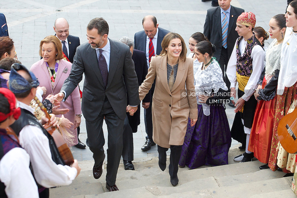 Prince Felipe and Princess Letizia visit Caspe village, Zaragoza, Spain on November 7, 2012