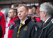 Dumbarton manager Steve Aitken  watches referee Kevin Clancy inspect the pitch - Dundee United v Dumbarton in the SPFL Championship at Tannadice, Dundee<br /> <br />  - &copy; David Young - www.davidyoungphoto.co.uk - email: davidyoungphoto@gmail.com