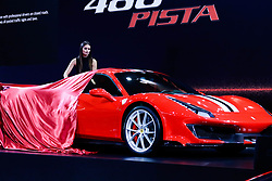 """November 7, 2018 - SãO Paulo, Brazil - SÃO PAULO, SP - 07.11.2018: SALÃO INTERNACIONAL DO AUTOMÃ""""VEL SP 2018 - Launch of the 488 Ferrari Track. The International Automobile Show of São Paulo, the largest exhibition of the automotive industry in Brazil and one of the largest in Latin America, begins this Thursday (08) at the São Paulo Expo, in the south zone of the city of São Paulo. The event takes place every two years in the city of São Paulo, with the aim of showing the latest developments in the automotive world, exposing cars, equipment and accessories. (Credit Image: © Aloisio Mauricio/Fotoarena via ZUMA Press)"""