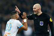 The referee gestures to Olympique de Marseille's French forward Dimitri Payet during the French Championship Ligue 1 football match between Olympique de Marseille and AS Monaco on January 28, 2018 at the Orange Velodrome stadium in Marseille, France - Photo Benjamin Cremel / ProSportsImages / DPPI