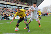 Oxford United midfielder Kemar Roofe and Swansea City midfielder Jack Cork during the The FA Cup third round match between Oxford United and Swansea City at the Kassam Stadium, Oxford, England on 10 January 2016. Photo by Jemma Phillips.