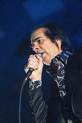 The frontman Nick Cave, of Nick Cave and the Bad Seeds, on stage tonight at The Barrowlands, Glasgow, Scotland.<br /> &copy;Michael Schofield.