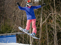 Alexa Mailloux rides the rails in Blundersmoke Park with Gunstock Freestyle Academy on Saturday morning.  (Karen Bobotas/for the Laconia Daily Sun)