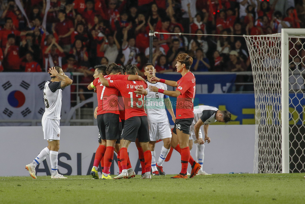 September 7, 2018 - Goyang, Gyeonggi, South Korea - September 7, 2018-Goyang, South Korea-South Korean players secong goal  action on the field during an Football A Match South Korea vs Costa Rica at Goyang Sports Complex in South Korea. Match Won South KOrea, Score by 2-0. (Credit Image: © Ryu Seung-Il/ZUMA Wire)