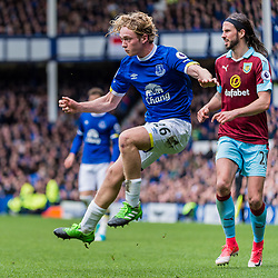 Everton midfielder Tom Davies (26) in the Premier League match between Everton and Burnley <br /> (c) John Baguley | SportPix.org.uk