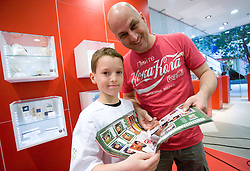 Uros Majerle of Planet 9 with his son at visit  of Slovenian National Football team in Mobitel center, on May 19, 2010 in Ciytpark, BTC, Ljubljana, Slovenia. (Photo by Vid Ponikvar / Sportida)