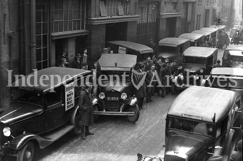 H2978<br /> Independent Newspapers Ltd 30th Anniversary. Pictures of lorries and vans at the Despatch Dept. 1935.<br /> (Part of the Independent Ireland Newspapers/NLI Collection)