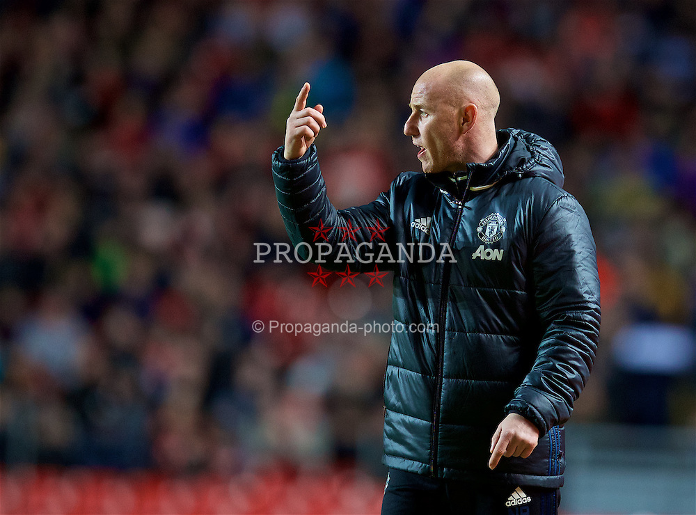 LIVERPOOL, ENGLAND - Monday, January 16, 2017: Manchester United's coach Nicky Butt during the FA Premier League 2 Division 1 Under-23 match against Liverpool at Anfield. (Pic by David Rawcliffe/Propaganda)