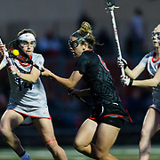 23 March 2018: San Diego State Aztecs midfielder Grace McGinty drives the ball towards the net in the first half. The Aztecs beat the Lady Flames 11-10 Friday night. <br /> More game action at sdsuaztecphotos.com