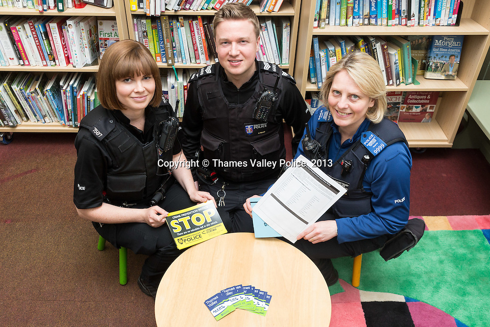 Officers of the Banbury Rural Neighbourhood Policing Team of Thames Valley Police (pictured at Deddington Library) are visiting the libraries in their community area to promote  the Banbury Rural Neighbourhood Action Group Survey.<br /> The survey has been designed to allow villages, working groups and individual members of the public to voice their opinions by selecting their top three local policing priorities.<br /> The consultation will take place all of this week <br /> . Banbury, UNITED KINGDOM. May 15 2013. <br /> Photo Credit: MDOC/Thames Valley Police<br /> &copy; Thames Valley Police 2013. All Rights Reserved. See instructions.