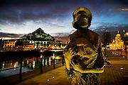 Rowan Gillespie's famine memorial, Custom House Quay, Dublin, Ireland.