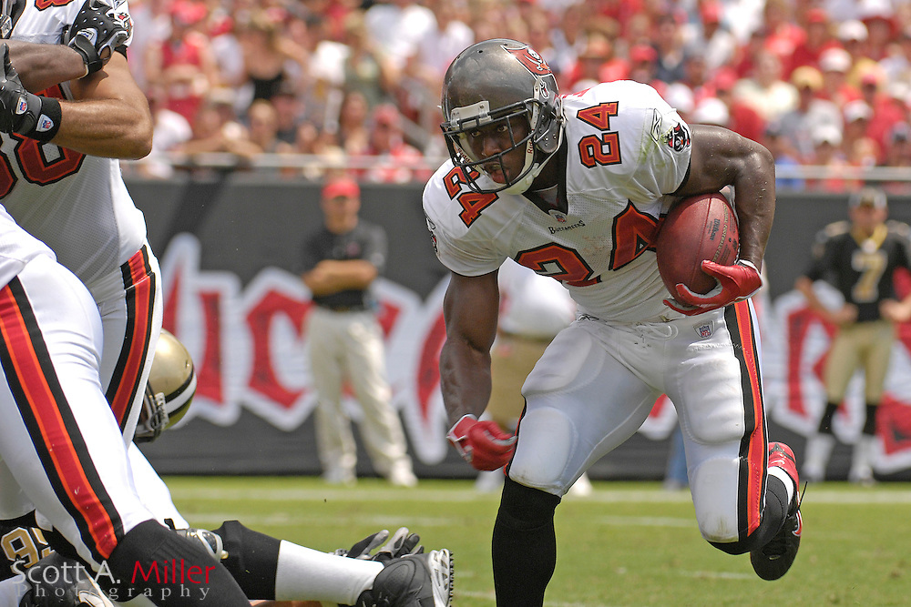 "September 16, 2007; Tampa, FL, USA; Tampa Bay Buccaneers running back (24) Carnell "" Cadillac "" Williams during his team's game against the New Orleans Saints  at Raymond James Stadium. Tampa Bay won the game 31-14....©2007 Scott A. Miller"