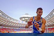 Konstadinos Filippidis from Greece competes in men's pole vault  during the 14th IAAF World Athletics Championships at the Luzhniki stadium in Moscow on August 10, 2013.<br /> <br /> Russian Federation, Moscow, August 10, 2013<br /> <br /> Picture also available in RAW (NEF) or TIFF format on special request.<br /> <br /> For editorial use only. Any commercial or promotional use requires permission.<br /> <br /> Mandatory credit:<br /> Photo by &copy; Adam Nurkiewicz / Mediasport