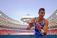 Konstadinos Filippidis from Greece competes in men's pole vault  during the 14th IAAF World Athletics Championships at the Luzhniki stadium in Moscow on August 10, 2013.<br /> <br /> Russian Federation, Moscow, August 10, 2013<br /> <br /> Picture also available in RAW (NEF) or TIFF format on special request.<br /> <br /> For editorial use only. Any commercial or promotional use requires permission.<br /> <br /> Mandatory credit:<br /> Photo by © Adam Nurkiewicz / Mediasport
