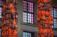 Berlin, Germany / 13.02.2016 - At the concert hall at the Gendarmenmarkt in Berlin the #safepassage-installation of the Chinese contemporary artist Ai Weiwei is built up. Ai Weiwei brought for this 14,000 refugee's life jackets and a rubber dinghy from the Greek island Lesvos to Berlin. <br /> <br /> Berlin, Germany / 13.02.2016 - An dem Konzerthaus auf dem Gendarmenmarkt in Berlin-Mitte wird die Installation #safepassage des chinesischen Kuenstlers Ai Weiwei aufgebaut. Ai Weiwei hat hierf&uuml;r 14.000 Fluechtlings-Schwimmwesten und ein Schlauchboot von der griechischen Insel Lesbos nach Berlin gebracht.