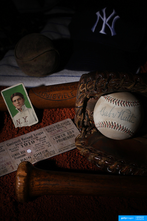 A collage of Antique Vintage Baseball Memorabilia and Collectables including a Babe Ruth signed baseball, used baseballs, wooden baseball bats, catchers mask, used ticket stub, baseball card and baseball shirt. 7th June 2012. Photo Tim Clayton