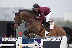 Sheikh Khalifa Abdulaziz Al Thani, (QAT), Arizona Pie <br /> Grans Prix CSI 2*<br /> Longines Global Champions Tour - Antwerp 2015<br />  © Hippo Foto - Dirk Caremans<br /> 25/04/15