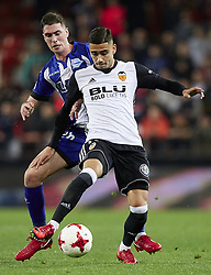 January 17, 2018 - Valencia, Valencia, Spain - Andreas Pereira of Valencia CF (R) competes for the ball with Dieguez of Deportivo Alaves during the Copa del Rey quarter-final first leg  game between Valencia CF and Deportivo Alaves at Mestalla stadium on January 17, 2018 in Valencia, Spain  (Credit Image: © David Aliaga/NurPhoto via ZUMA Press)