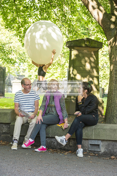 Pictured: Nikita Lebedev<br /> <br /> The cast of Staging Wittgenstein. Annie Hagg (blonde) , Roxanna Kadyrova (dark hair) and Nikita Lebedev were enjoying the sunshine as they prepared for their run in the Edinburgh Festival at Venue 34, Adams House, Chambers Street in Edinburgh.  The US/Russian production will be in Edinburgh until 28 August. <br /> <br /> Ger Harley | EEm 9 August 2017