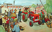 Chinese political poster depicting a group of collective farmers in Communist China. Circa 1960's