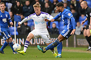 Newcastle United midfielder Matt Ritchie (11) blocks Birmingham City midfielder David Davis (26) cross 0-0 during the EFL Sky Bet Championship match between Birmingham City and Newcastle United at St Andrews, Birmingham, England on 18 March 2017. Photo by Alan Franklin.
