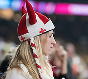 Twickenham, Great Britain, Painted Face, England supporters, Hats and Flags, before the Pool A game, England vs Australia.  2015 Rugby World Cup, Venue, RFU Stadium, Twickenham, Surrey, ENGLAND.  Saturday  03/10/2015<br /> Mandatory Credit; Peter Spurrier/Intersport-images]