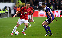 Leander Dendoncker midfielder of RSC Anderlecht and  Zlatan Ibrahimovic pictured during  UEFA Europa League quarter final first leg match between Rsc Anderlecht and Manchester United 13/04/2017. <br /> Norway only