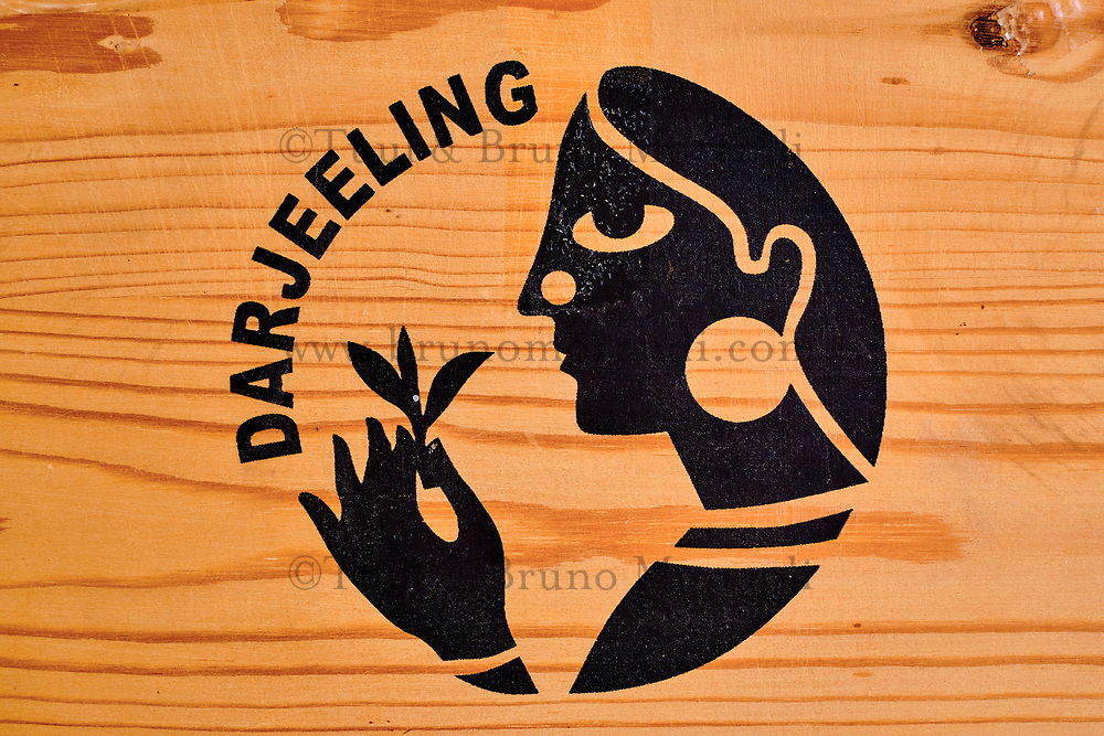 Inde, Bengale Occidental, Darjeeling, boite de thé de Darjeeling // India, West Bengal, Darjeeling, Darjeeling tea box