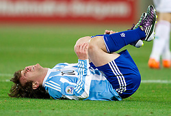 Injured Lionel Messi of Argentina during the 2010 FIFA World Cup South Africa Round of Sixteen match between Argentina and Mexico at Soccer City Stadium on June 27, 2010 in Johannesburg, South Africa. Argentina defeated Mexico 3-1 and qualified for quarterfinals. (Photo by Vid Ponikvar / Sportida)
