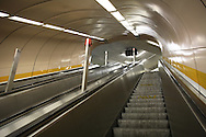 DEU, Germany, Ruhr area, Bochum, escalator at the subway station Rathaus-Nord, town hall north.....DEU, Deutschland, Ruhrgebiet, Bochum, Rolltreppe an der U-Bahn Station Rathaus-Nord...15.06.2006....[For each usage of my images the General Terms and Conditions are mandatory.]