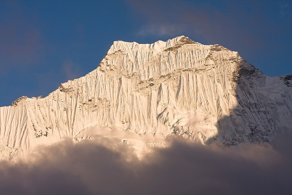 The steep, fluted face of Ombigaichan as seen from Chhukung Ri, Khumbu (Everest) region, Himalaya Mountains, Nepal.