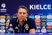 KIELCE, POLEN 2017-06-15<br /> H&aring;kan Ericsson under U21 landslagets presskonferens p&aring;  Arena Kielce den 15 juni 2017.<br /> Foto: Nils Petter Nilsson/Ombrello<br /> Fri anv&auml;ndning f&ouml;r kunder som k&ouml;pt U21-paketet.<br /> Annars Betalbild.<br /> ***BETALBILD***