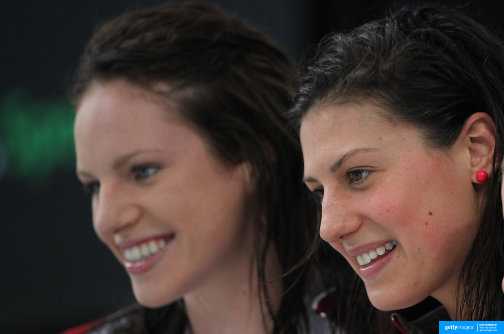 Stephanie Rice (right) and Emily Seebohm during the Australian Swimming Championships and Selection Trials for the XIII Fina World Championships held at Sydney Olympic Park Aquatic Centre, Sydney, Australia from March 17, 2009. Photo Tim Clayton