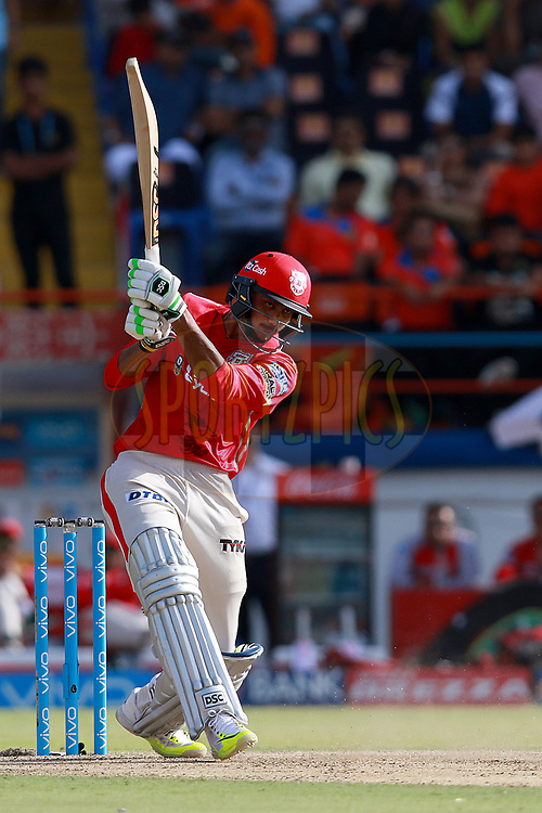 Axar Patel of KXIP plays a shot during match 26 of the Vivo 2017 Indian Premier League between the Gujarat Lions and the Kings XI Punjab held at the Saurashtra Cricket Association Stadium in Rajkot, India on the 23rd April 2017<br /> <br /> Photo by Rahul Gulati - Sportzpics - IPL