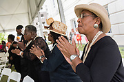Members of the Magnolia Singers join in song during a memorial service marking the 2nd anniversary of the mass shooting at the Mother Emanuel African Methodist Episcopal Church shooting June 17, 2017 in Charleston, South Carolina. Nine members of the historic African-American church were gunned down by a white supremacist during bible study on June 17, 2015.
