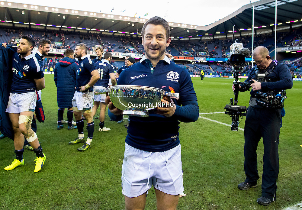 RBS 6 Nations Championship Round 1, BT Murrayfield, Scotland 4/2/2017<br /> Scotland vs Ireland<br /> Scotland's Greig Laidlaw celebrates with the Quaich trophy<br /> Mandatory Credit &copy;INPHO/Craig Watson