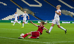 CARDIFF, WALES - Tuesday, August 21, 2014: Wales' Sarah Wiltshire in action against England during the FIFA Women's World Cup Canada 2015 Qualifying Group 6 match at the Cardiff City Stadium. (Pic by David Rawcliffe/Propaganda)