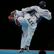 Karine Sergerie, Canada, (red) in action against  Farida Azizova, Azerbaijan, (blue) during the Taekwondo Women 67kg preliminary round during the London 2012 Olympic games. London, UK. 10th August 2012.