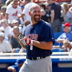 March 7, 2011; Dunedin, FL, USA; Boston Red Sox third baseman Kevin Youkilis (20) reacts after striking out during the top of the third inning of a spring training game against the Toronto Blue Jays at Florida Auto Exchange Stadium. Mandatory Credit: Derick E. Hingle-US PRESSWIRE