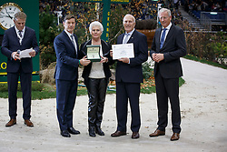 Joop and Maartje Hanse, (NED) breeders of Valegro (KWPN), (Negro - Maifleur x Gershwin) with Sien Korver,president KWPN. Receiving a Rolex watch from Mr. Laurent Delonney, Directeur adjoint Sponsoring<br /> <br /> WBSFH Prizegiving<br /> Genève 2015<br /> © Hippo Foto - Dirk Caremans<br /> 12/12/15