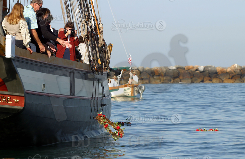Sep 11, 2002; Corona Del Mar, California, USA; Staysail Schooner LYNX from Portsmouth, New Hampshire was one of the Tall Ships who hosted families of 9/11 victims. The Ships paused off shore to toss wreaths into the Pacific Ocean enroute from Los Angeles to San Diego for the 'Festival of Sail 2002.'<br />Mandatory Credit: Photo by Shelly Castellano/ZUMA Press.<br />(&copy;) Copyright 2002 by Shelly Castellano