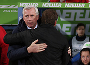 Crystal Palace Manager Alan Pardew meets Liverpool Manager Brendan Rodgers during the The FA Cup 5th Round match between Crystal Palace and Liverpool at Selhurst Park, London, England on 14 February 2015. Photo by Phil Duncan.