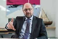 27 FEB 2017, BERLIN/GERMANY:<br /> Martin Schulz, SPD, desig. Parteivorsitzender und Kanzlerkandidat, waehrend einem Interview, in seinem Beuro, Willy-Brandt-Haus<br /> IMAGE: 20170227-01-011