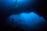 CHANNEL ISLANDS NATIONAL PARK, CA:  Ralph Clevenger explores an underwater arch while SCUBA diving in the Channel Islands National Park, California. (Model Released)