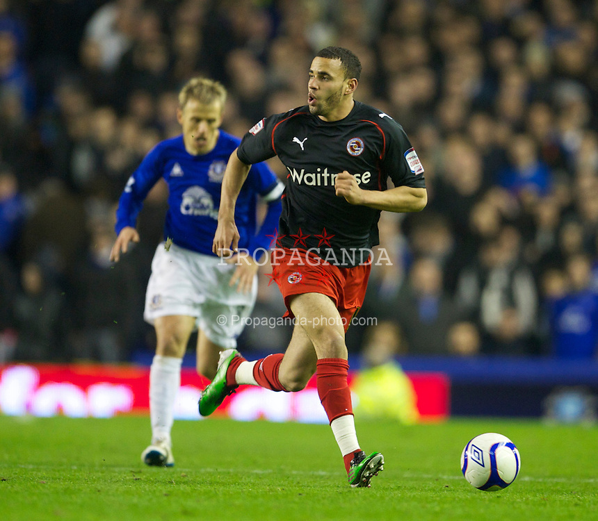 LIVERPOOL, ENGLAND - Tuesday, March 1, 2011: Reading's Hal Robson-Kanu in action against Everton during the FA Cup 5th Round match at Goodison Park. (Photo by David Rawcliffe/Propaganda)