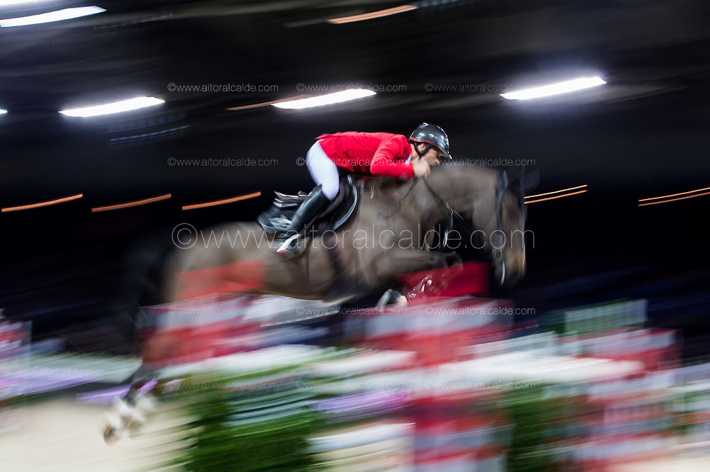 HONG KONG - FEBRUARY 20:  Pius Schwizer of Switzerland rides Balou Rubin R during the Longines Speed Challenge as part of the 2016 Longines Masters of Hong Kong on February 20, 2016 in Hong Kong, Hong Kong.  (Photo by Aitor Alcalde Colomer/Getty Images)