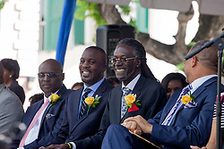 (L-R) Senators Novelle E. Francis, Jr.; Marvin A. Blyden, and Positive T.A. Nelson.  St. Thomas Swearing-In Ceremony for the 32nd Legislature of the US Virgin Islands.  Emancipation Garden.  St. Thomas, VI.  9 January 2017.  © Aisha-Zakiya Boyd