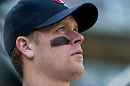 Justin Morneau #33 of the Minnesota Twins looks on during a game against the Detroit Tigers on April 3, 2013 at Target Field in Minneapolis, Minnesota.  The Twins defeated the Tigers 3 to 2.  Photo: Ben Krause