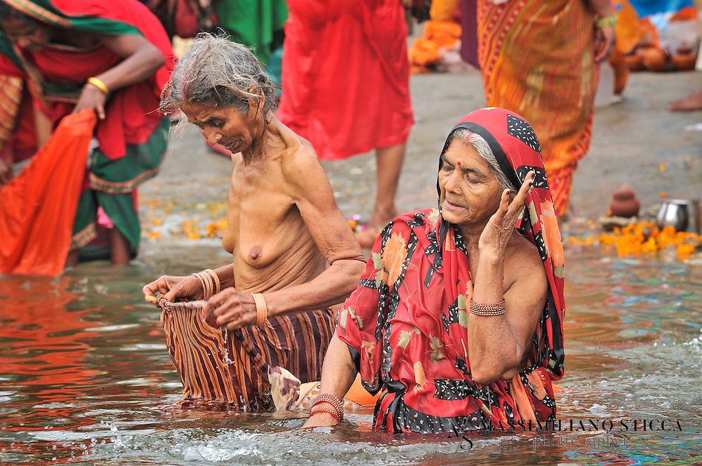 According to most legends Ganga is holiest river. Taking dip in Ganga bestows purification from all sins accumulated from previous birth and hence we get salvation here. According to Devi Mahabhagwat, Ganga was elder daughter of Menaka and Himalaya, elder sister of  Parvati and incarnation of Supreme Goddess Bhagwati Adishakti Durga.After her birth and she was taken by Brahma to Brahmaloka in his kamandalu. Then he washes Lord Vishnu &lsquo;s feet with Ganga water. Hence from Brahmaloka she comes to Vaikuntha.<br /> Then Bhagiratha one of the forefathers of Lord Rama brought her to earth for attaining salvation of his 60000 ancestors after tremendous penance to Lord Shiva. Thus she came to this earth. Her falling force was so enormous that Lord Shiva has to hold her in his matted hair and release some of it to form river Ganga. Some accounts say that she was married to Lord Shiva in heaven.